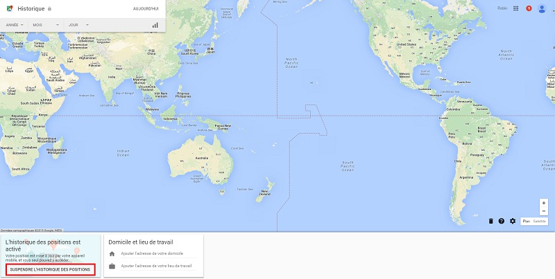 Historique localisation Google