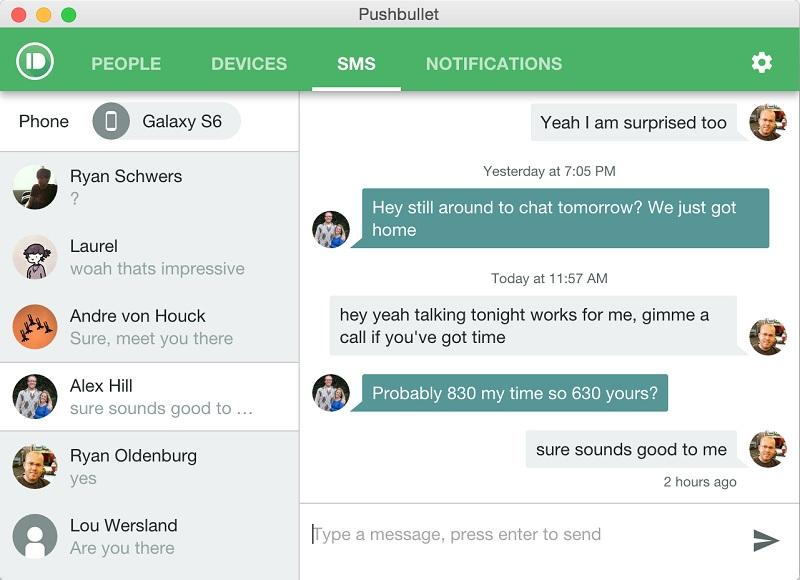Pushbullet fenêtre historique conversation sms