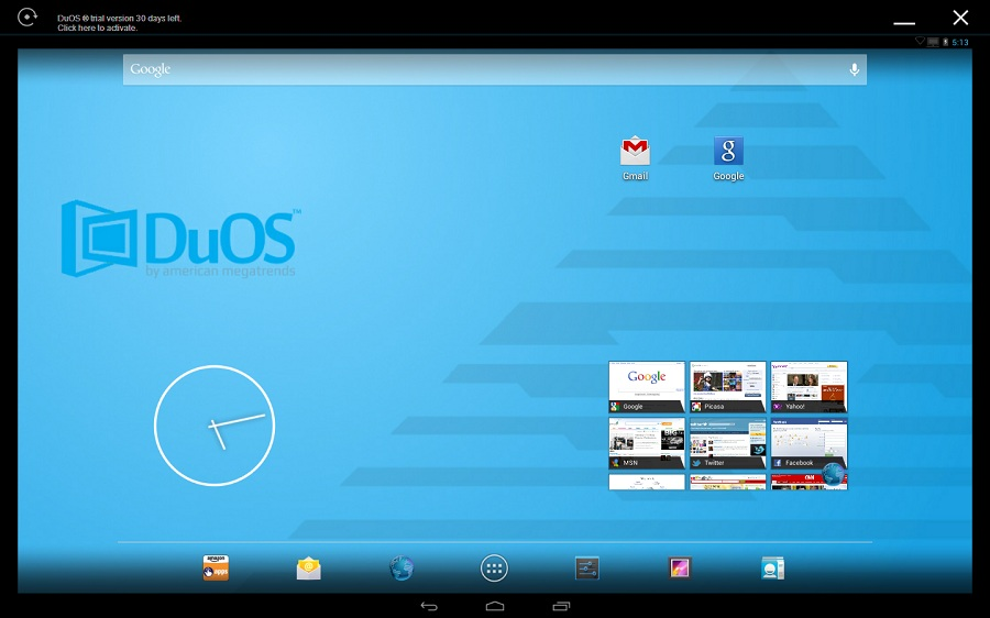 AMIDuOS émulateur Android PC screen