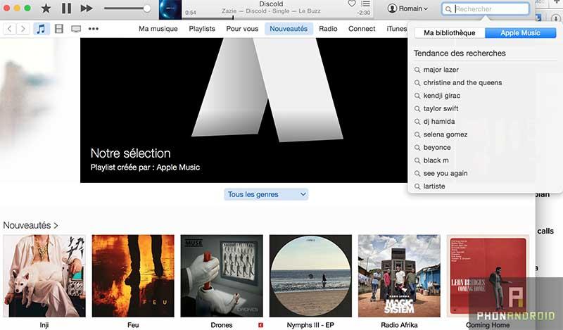 apple music recherche