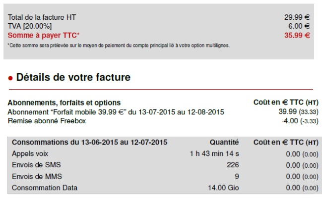 Free forfait 39,99 € reconduction tacite