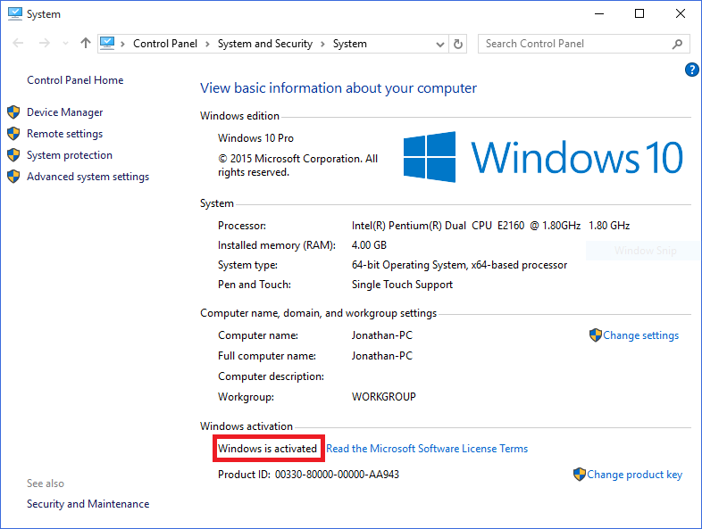 Windows 10 version pirate acces mise a jour