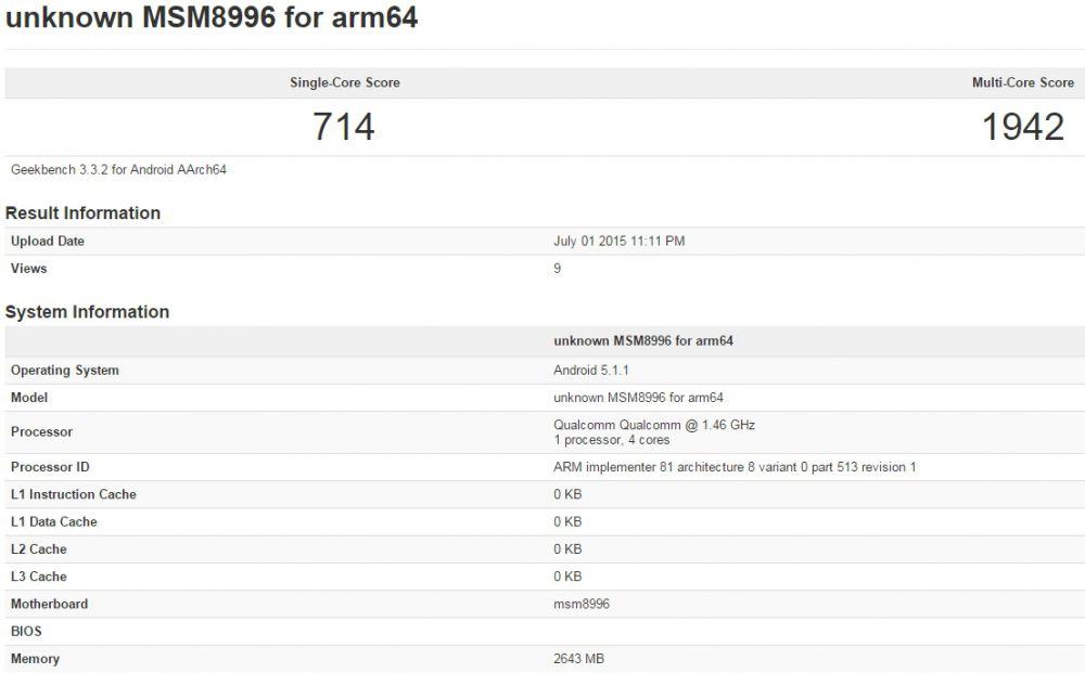 Snapdragon 820 Geekbench