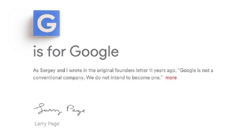 Larry Page quote G is For Google