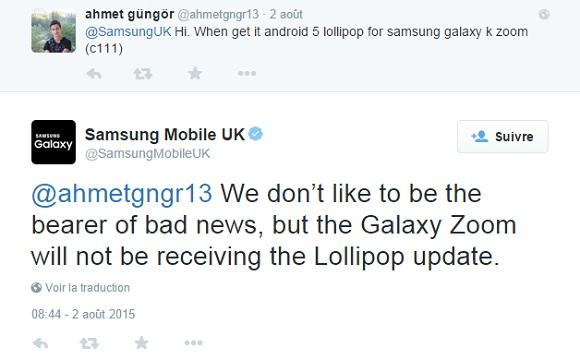 pas mise a jour Lollipop Android Samsung Galaxy K Zoom