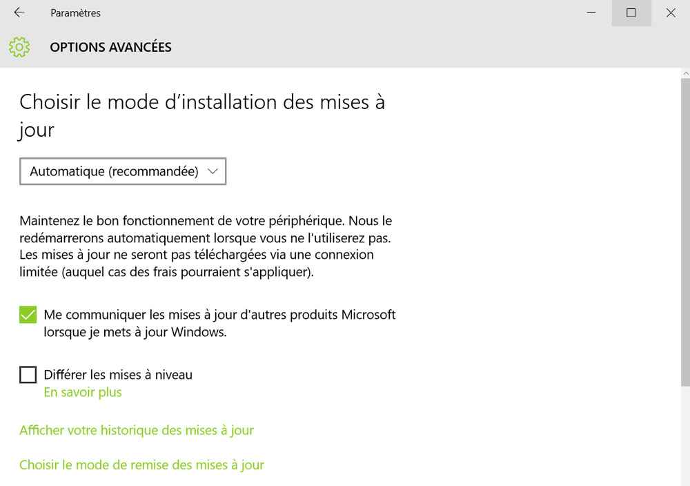 mise a jour windows 10