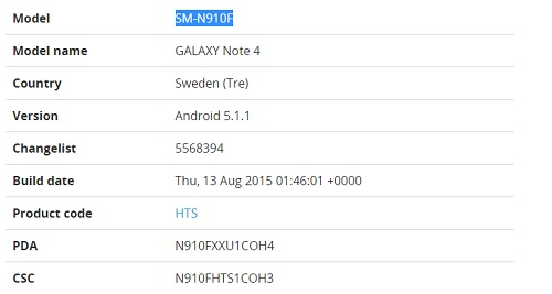Mise a jour Galaxy Note 4 5.1.1 Lollipop