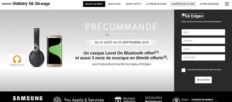 Samsung Galaxy S6 Edge Plus precommande