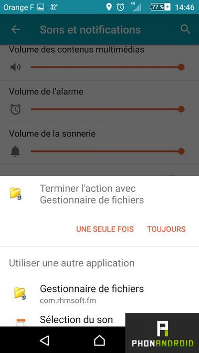 selectionner sonnerie android