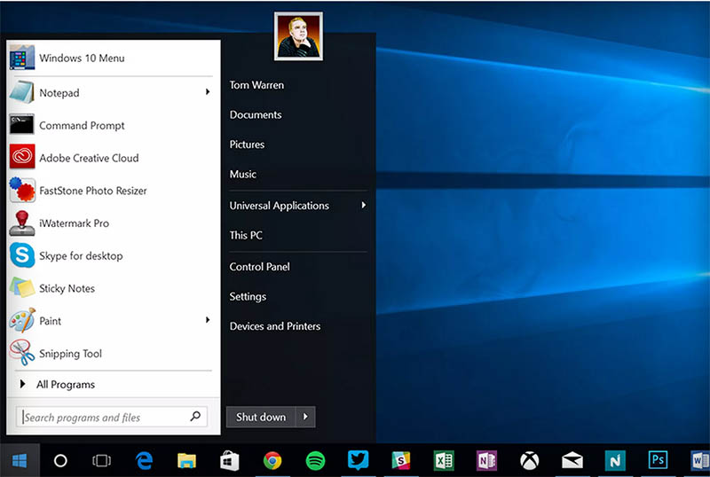 windows 10 menu demarrer windows 7