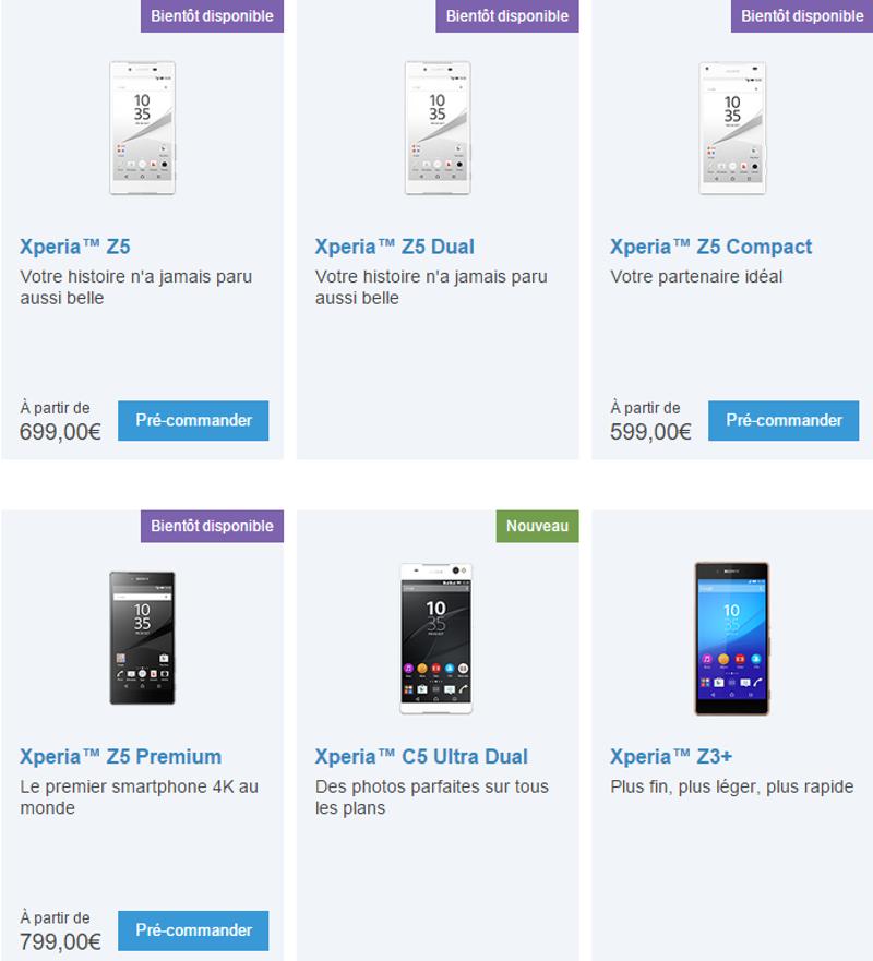 Sony XPeria Z5 Prix