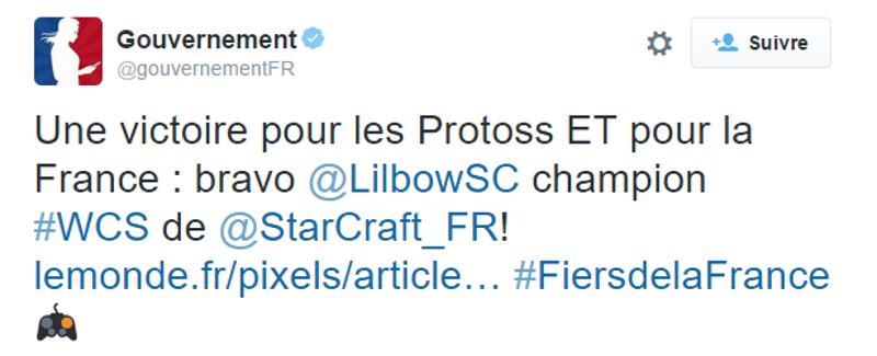 e-sport gouvernement felicite français