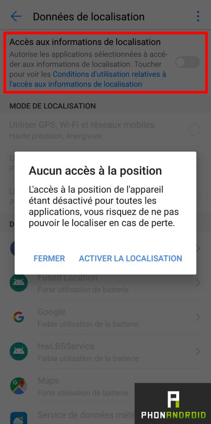 android desactiver localisation
