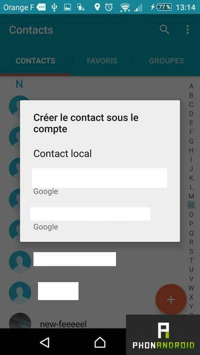 importer contacts compte Google