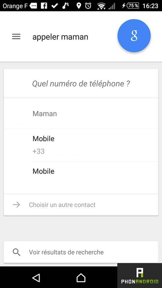 Google Now appeler contact