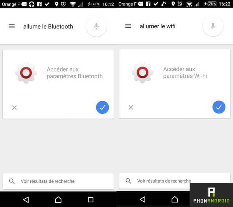 Google Now raccourcis