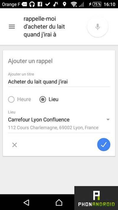 rappel Google Now