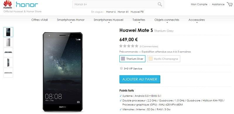 Huawei Mate S précommande