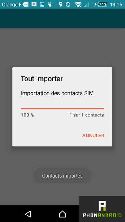 Importer contacts SIM