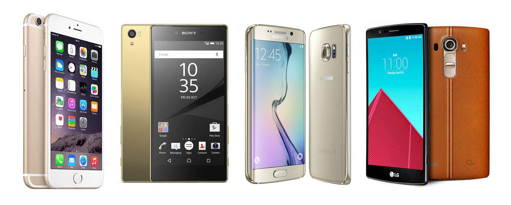 iphone 6s plus sony xperia Z5 premium galaxy s6 edge plus lg g4
