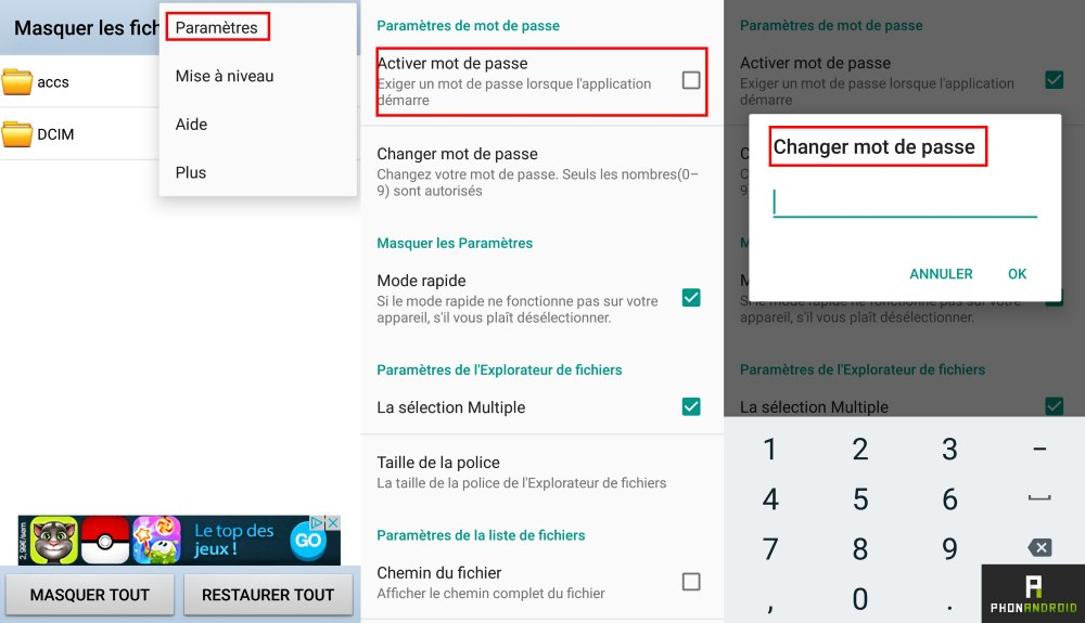 masquer fichier dossier android