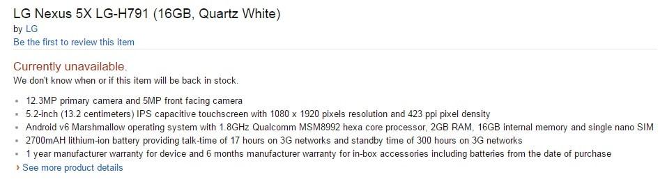 Nexus 5X specs amazon