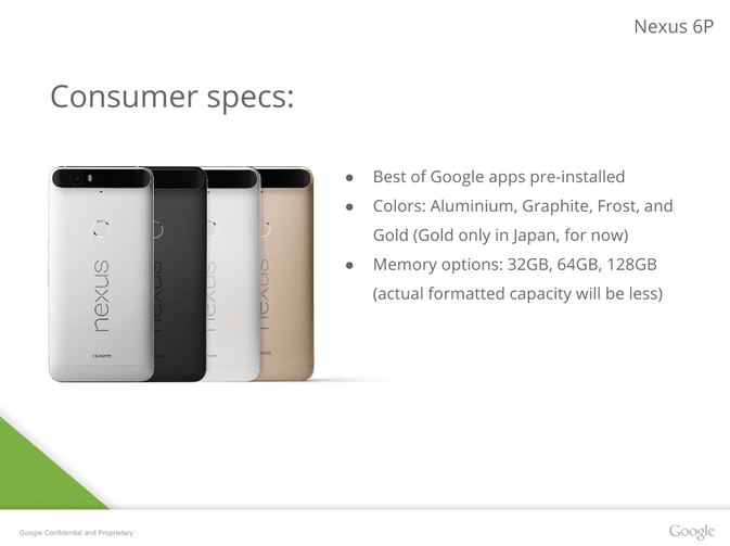Nexus 6P coloris