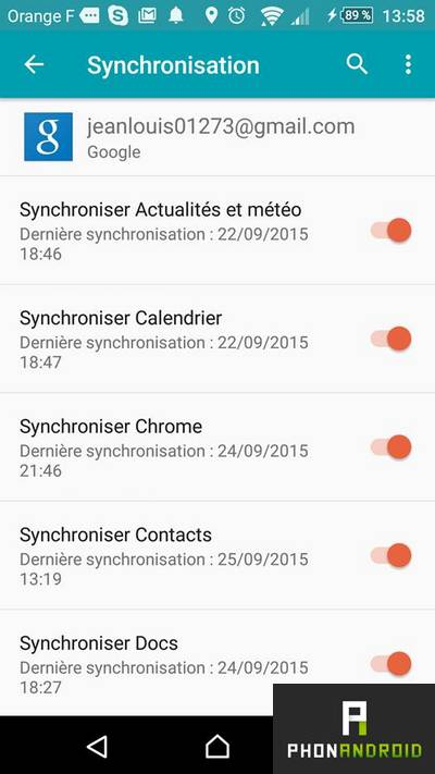 synchroniser contacts