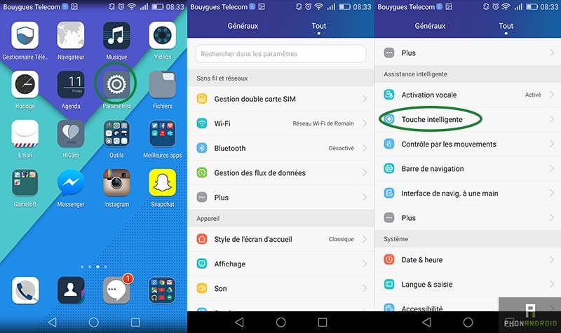 tutoriel honor 7 touche intelligente menu
