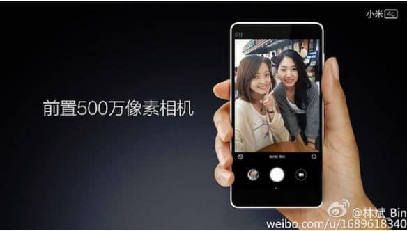 Xiaomi Mi4c camera frontale