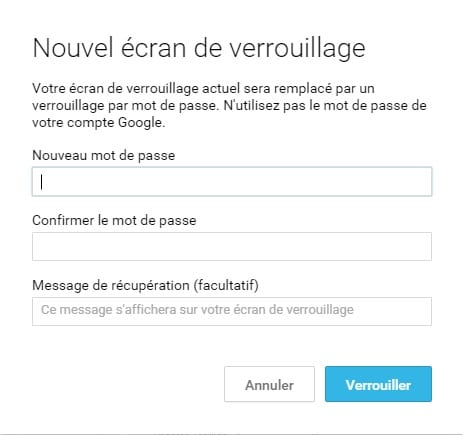 Android Device Manager verrouillage
