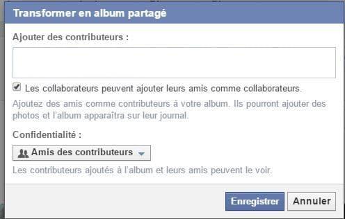 ajouter contributeurs album facebook