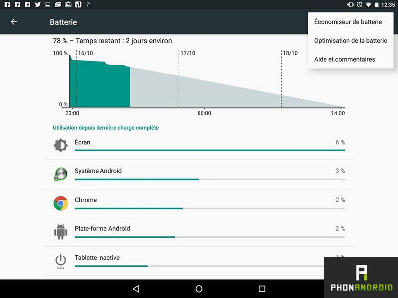 android marshmallow batterie