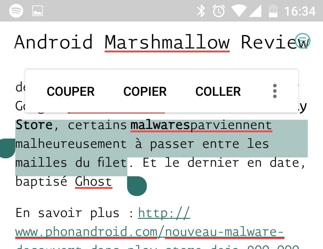 android marshmallow copier coller