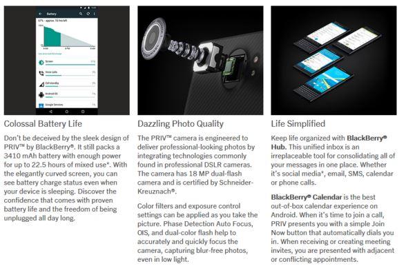 BlackBerry Priv batterie camera