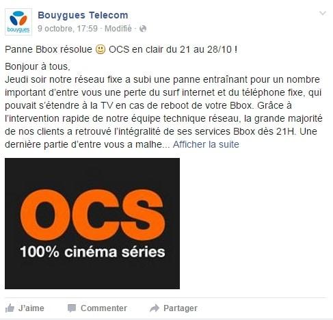Bouygues Telecom panne octobre