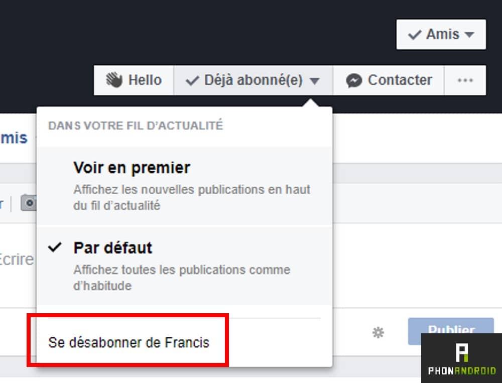 facebook desabonner