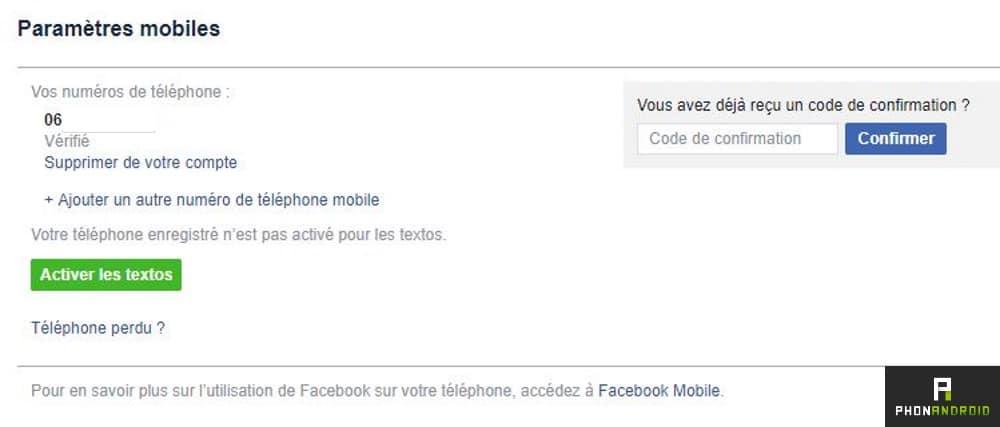 facebook mobile sms