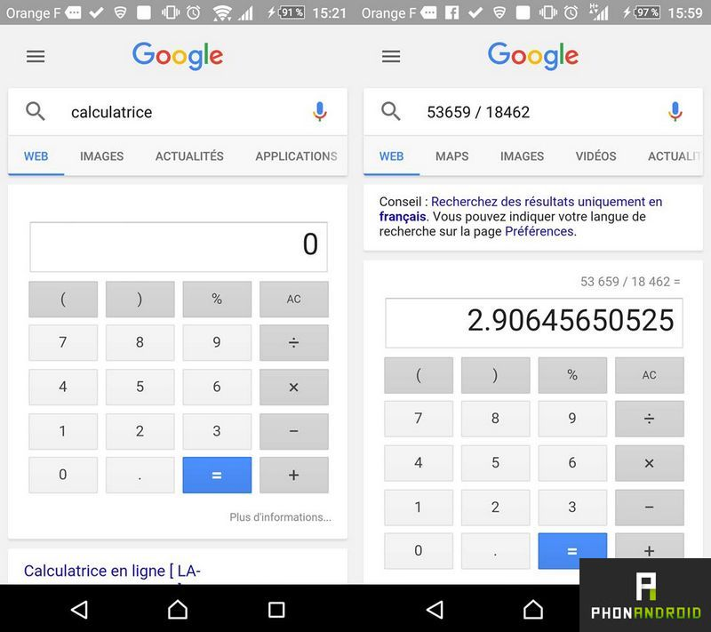 Google calculatrice