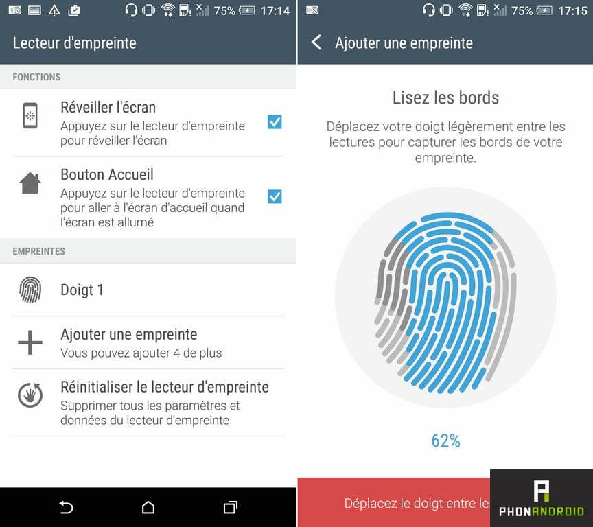 htc one a9 configuration empreinte