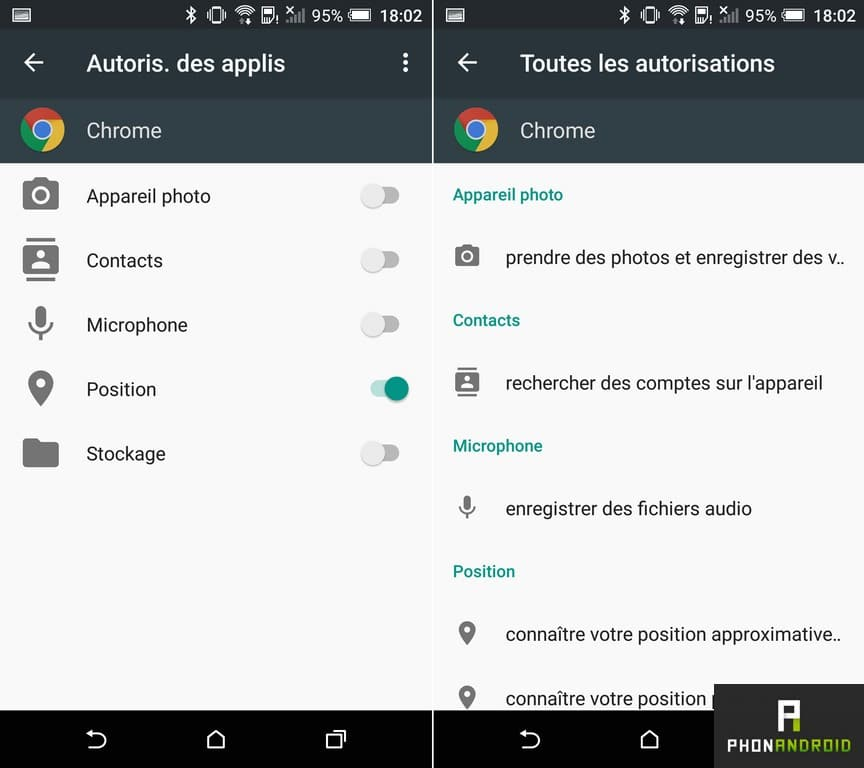 htc one a9 permission application
