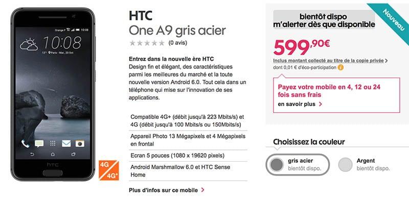 htc one a9 sosh prix