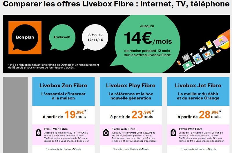 bon plan Orange offre LiveBox Fibre