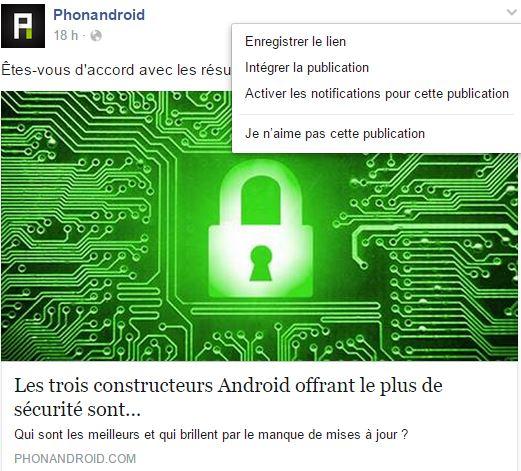 sauvegarder liens facebook