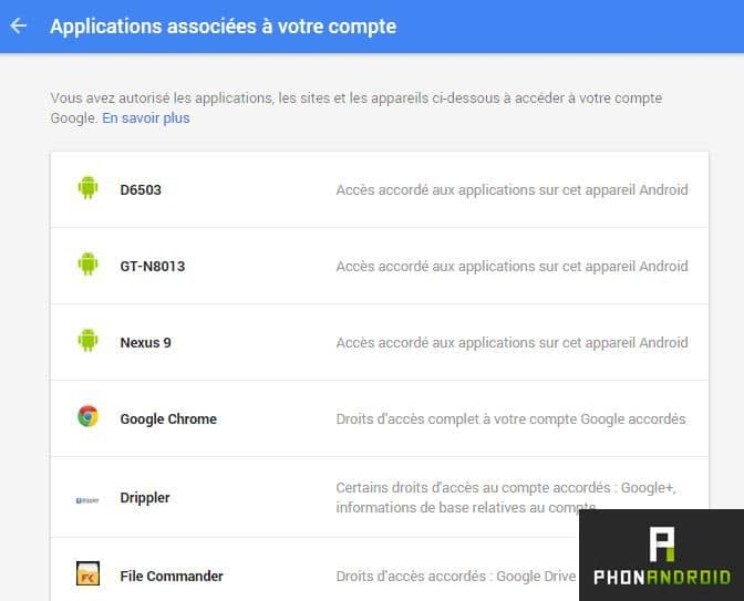 applications google donnees