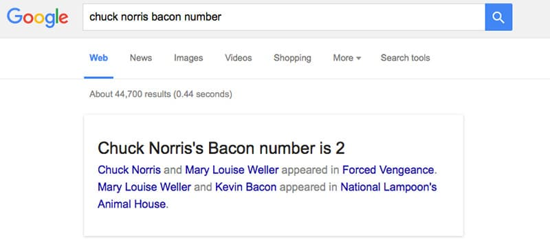 bacon number google