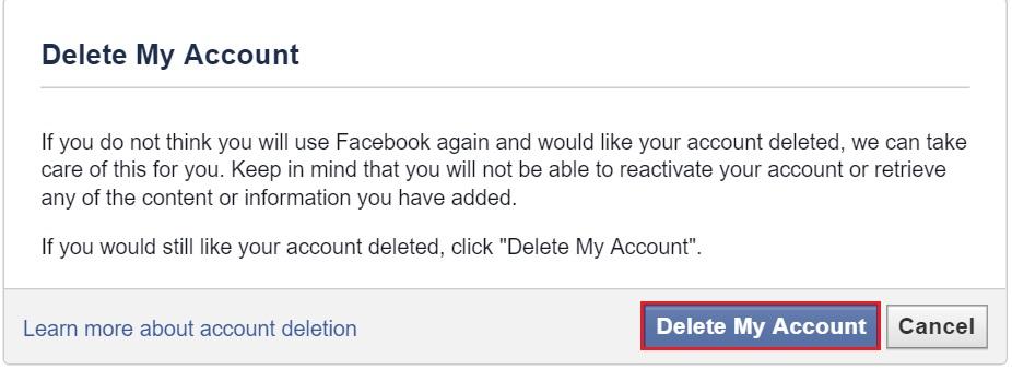 effacer profil facebook