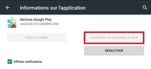 Google Play Services désactiver