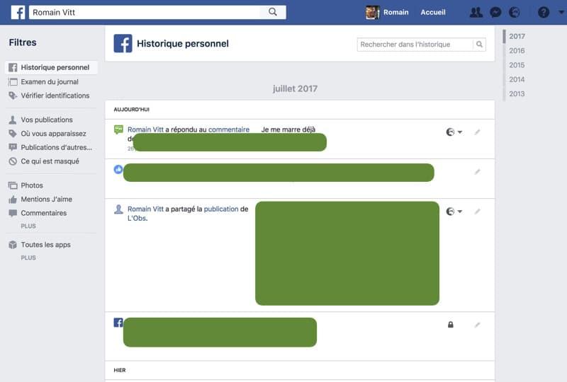 effacer historique personnel facebook