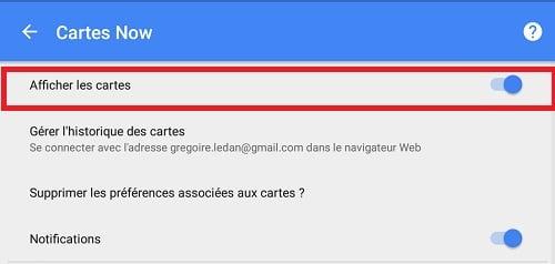 Google Now décocher cartes